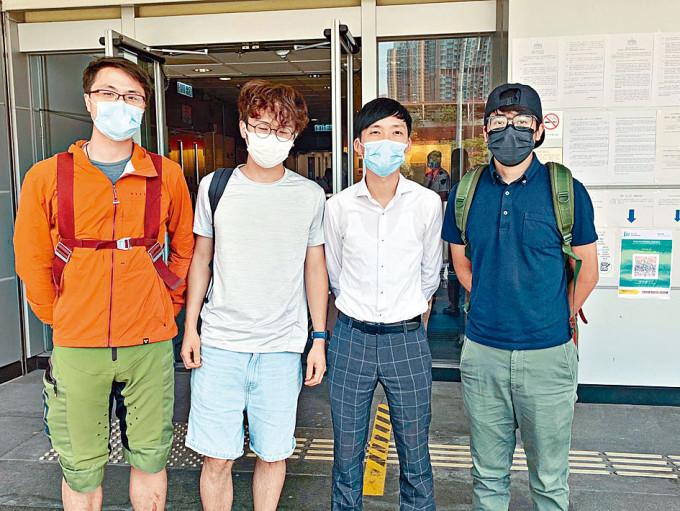 (左起)被告梁德明、侯文健、林進及陳樹暉被判罰款。