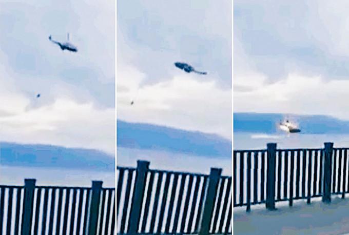 直升機墜海前疑似起火。