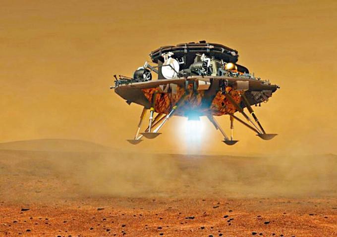中國「天問一號」登陸火星設計圖。