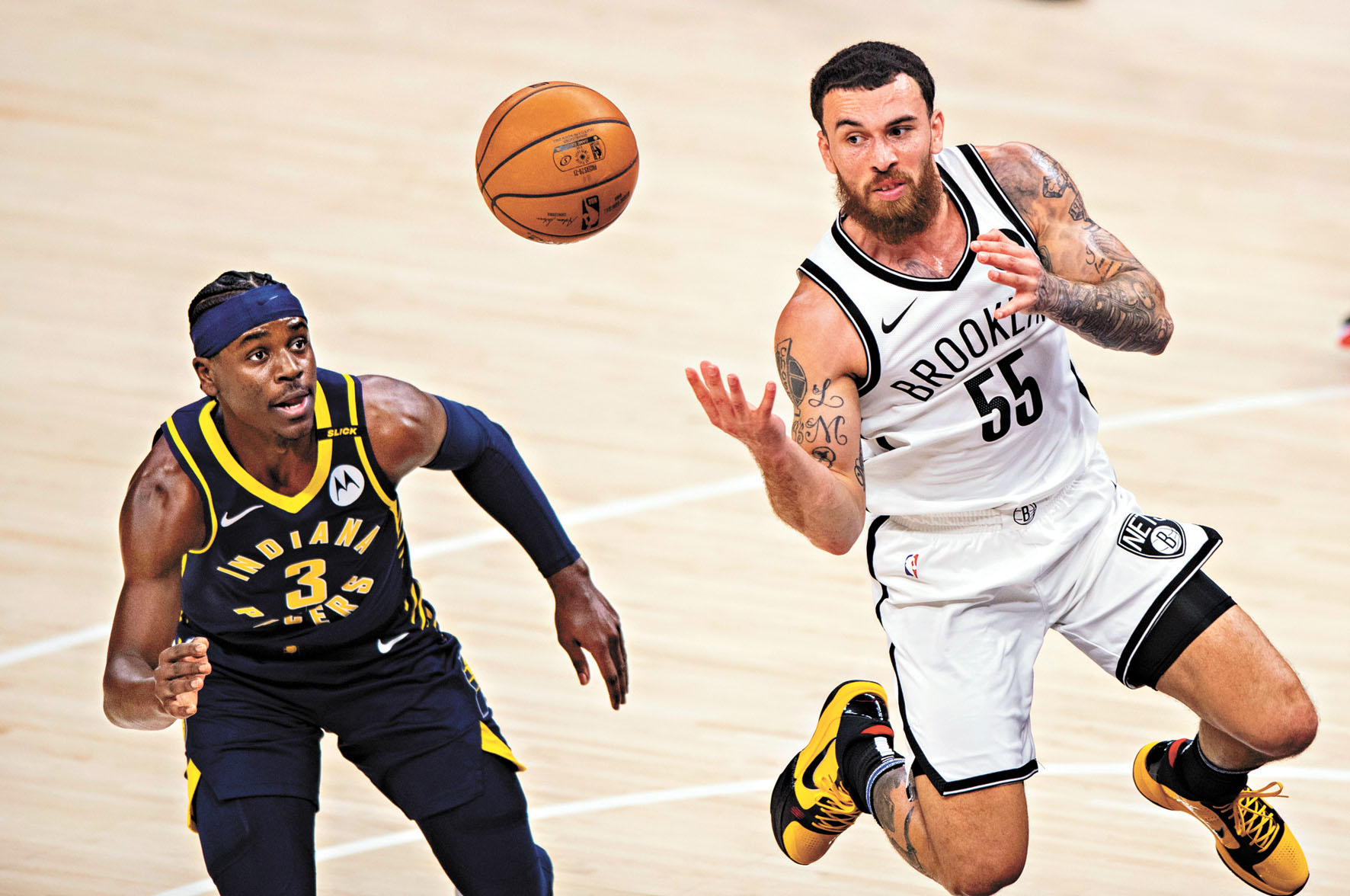 加盟籃網以來,邁克(右)的表現獲得認可。美聯社C