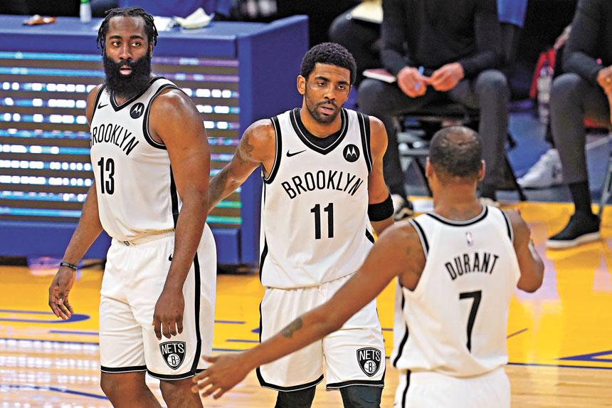 擁有三巨頭的籃網是奪冠最大熱門。美聯社