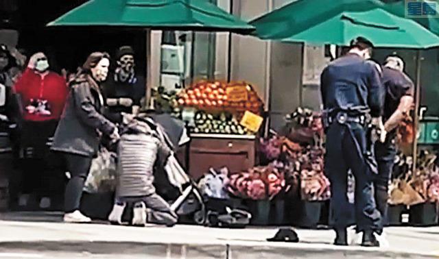 哈蒙德被巡邏警員逮捕。ABC電視畫面