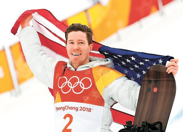 圖為懷特在2018年平昌冬奧會賽後進行慶祝。資料圖片