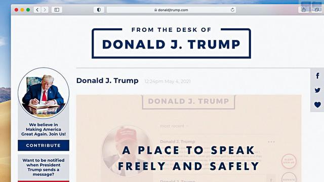 前總統特朗普遭主流社媒封殺幾個月後,4日自行推出全新通訊平台「From the Desk of Donald J. Trump」,設於特朗普的個人網站內。    Donaldjtrump