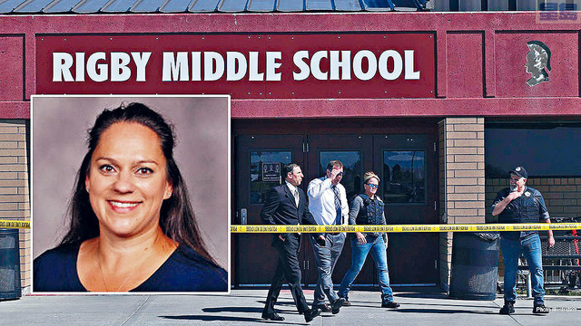 ■45歲的老師格尼丁英勇取走疑犯的槍支和制服對方,她事後透露,案發時感覺肩膀上有個天使為她指路。    電視屏幕截圖