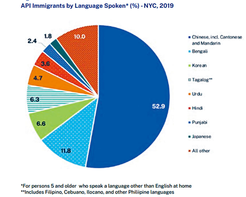 API群體中使用中文(包括普通話、廣東話等)的人口比例為52.9%。