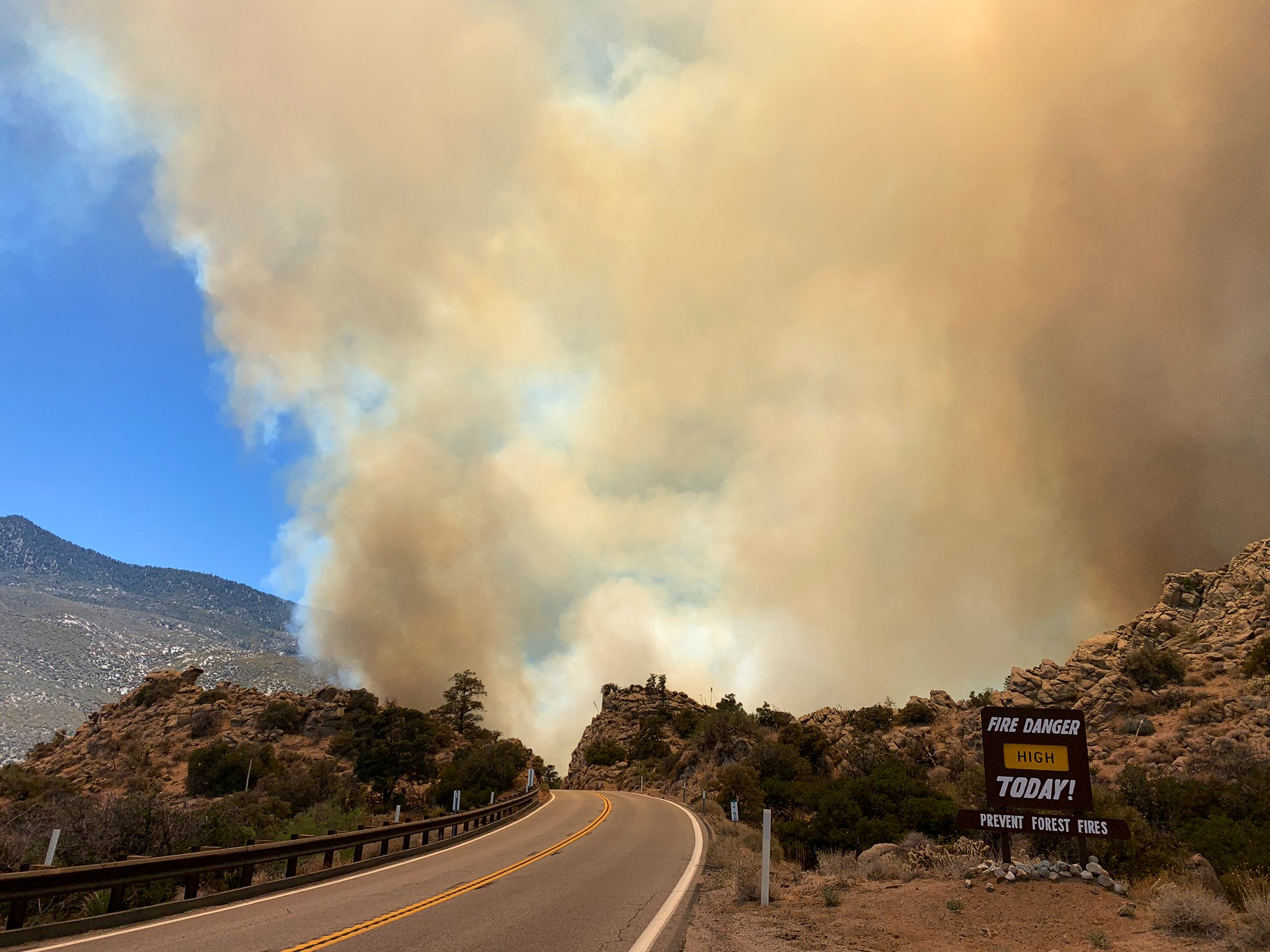 河濱縣週日突發大火,已經燃燒250畝。San Bernardino National Forest/Twitter