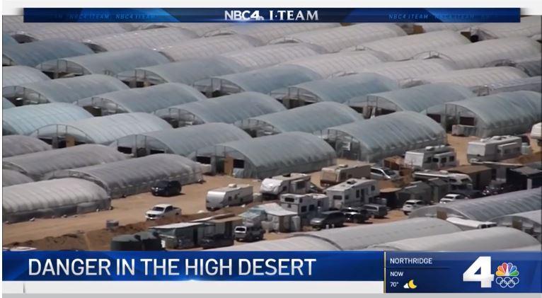 空中鳥瞰沙漠地區非法大麻活動如雨後春筍般湧現。NBC 4