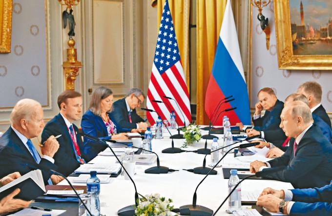 拜登和普京在日內瓦拉格蘭奇別墅開會。