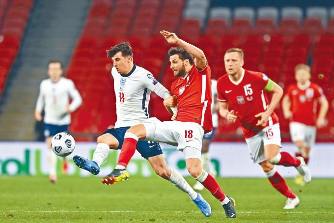 出戰歐國盃的英格蘭國家隊,早前在世界盃外圍賽中與波蘭國家隊對壘。