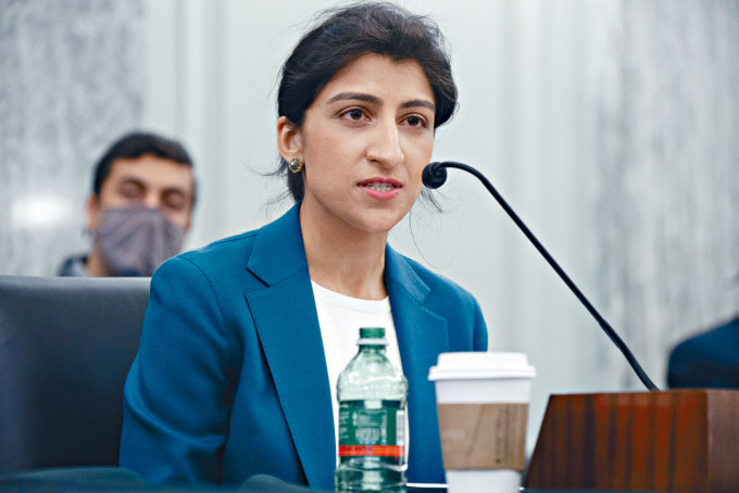 美國聯邦貿易委員會新任主席莉娜汗一向批評科技巨企壟斷。