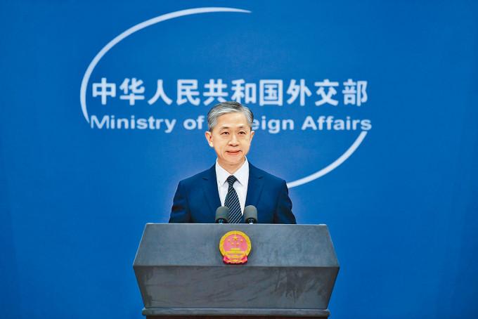 汪文斌指,《反外國制裁法》為依法反制外國歧視性措施,提供有力法治保障和支撐。