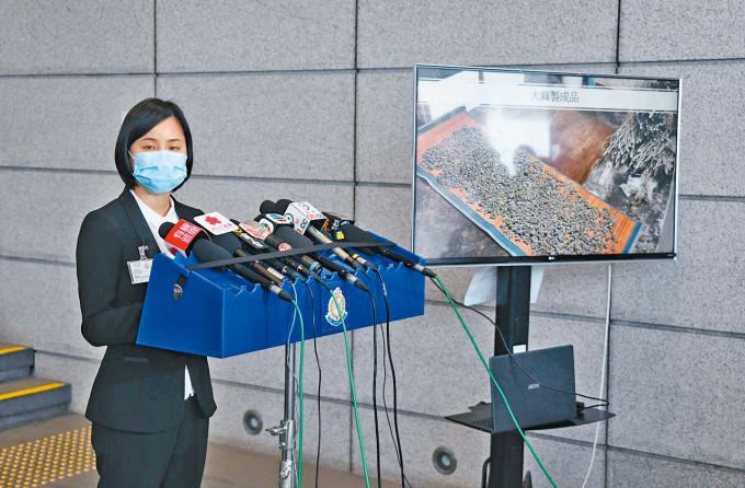毒品調查科總督察葉秀蘭指掃毒行動中有十七名學生被捕。
