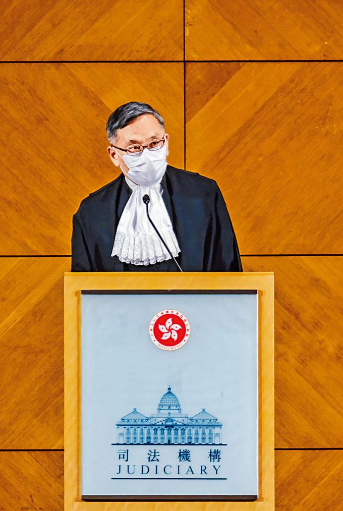 終審法院首席法官張舉能。