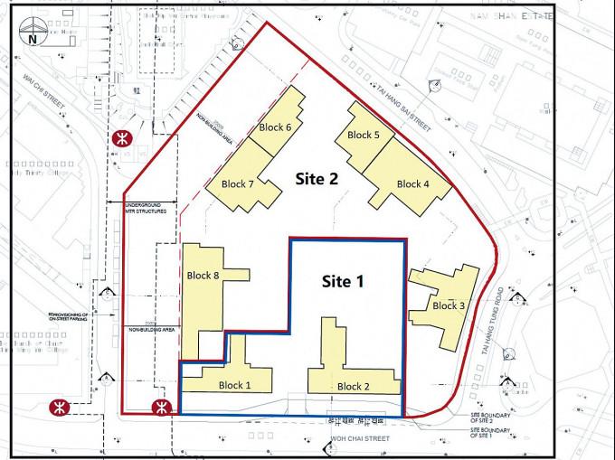 大坑西邨重建項目平面圖。