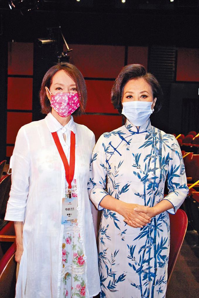 汪阿姐與心姐出席粵劇新秀演出開幕拜神。