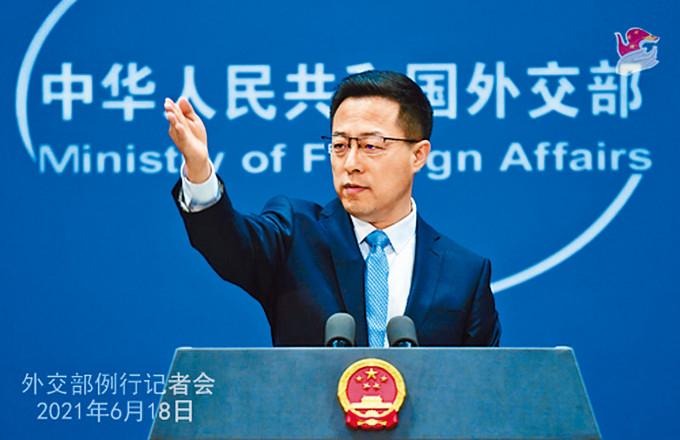 趙立堅指香港是法治社會,法律面前人人平等。