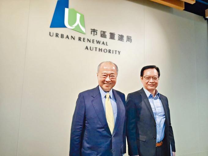 市建局主席周松崗(左)及行政總監韋志成。