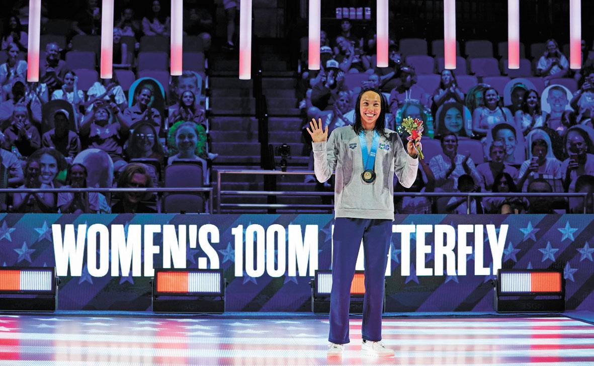 華裔選手胡思克打破三項紀錄,問鼎奧運選拔賽女子100米蝶泳。美聯社