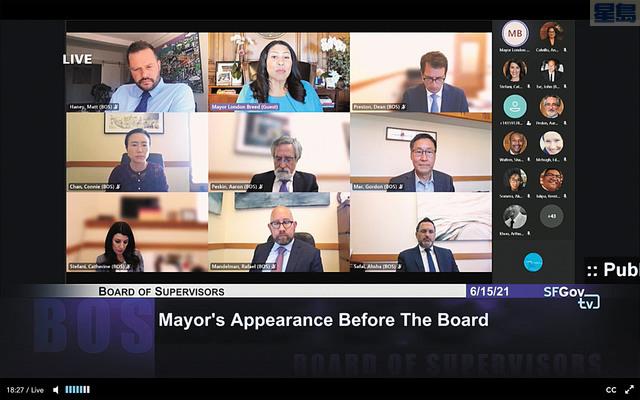 市參事會周二繼續通過Zoom遠程舉行。記者彭詩喬截屏
