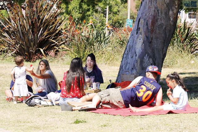 有不少家庭選擇在美麗湖畔的草地上野餐,共度父親節。記者張曼琳攝