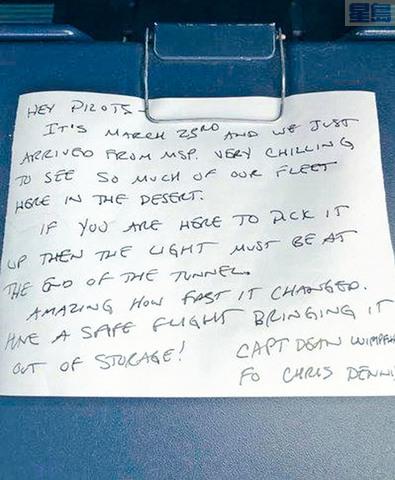 一名副機師日前發現餐桌藏有同事的留言,勉勵他「已走到黑暗隧道的盡頭」,但字條日期竟然已是去年3月23日。達美航空提供