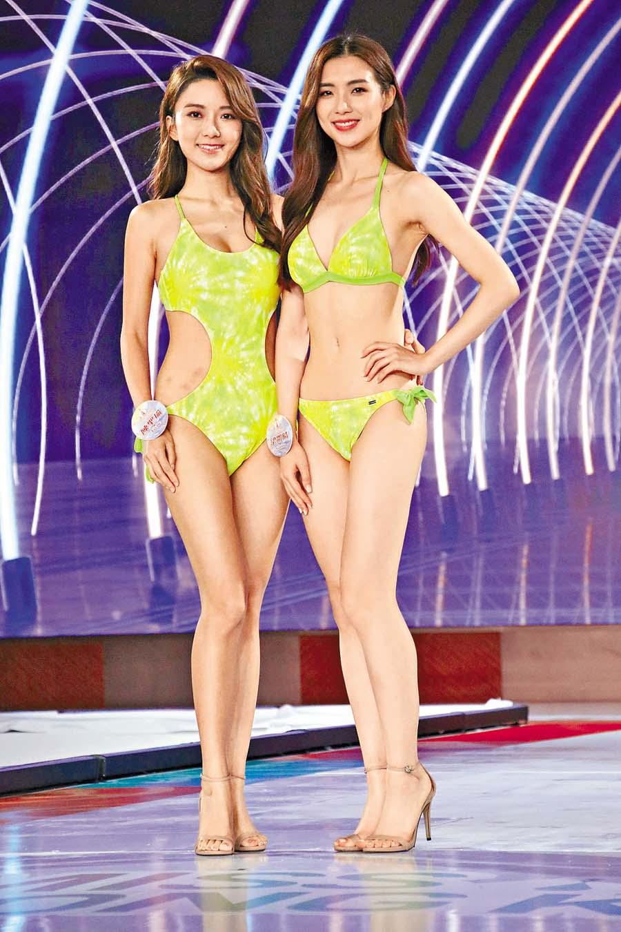 右腹出現幾撻瘀痕的陳聖瑜(左),與梁凱晴都是今屆的大熱。