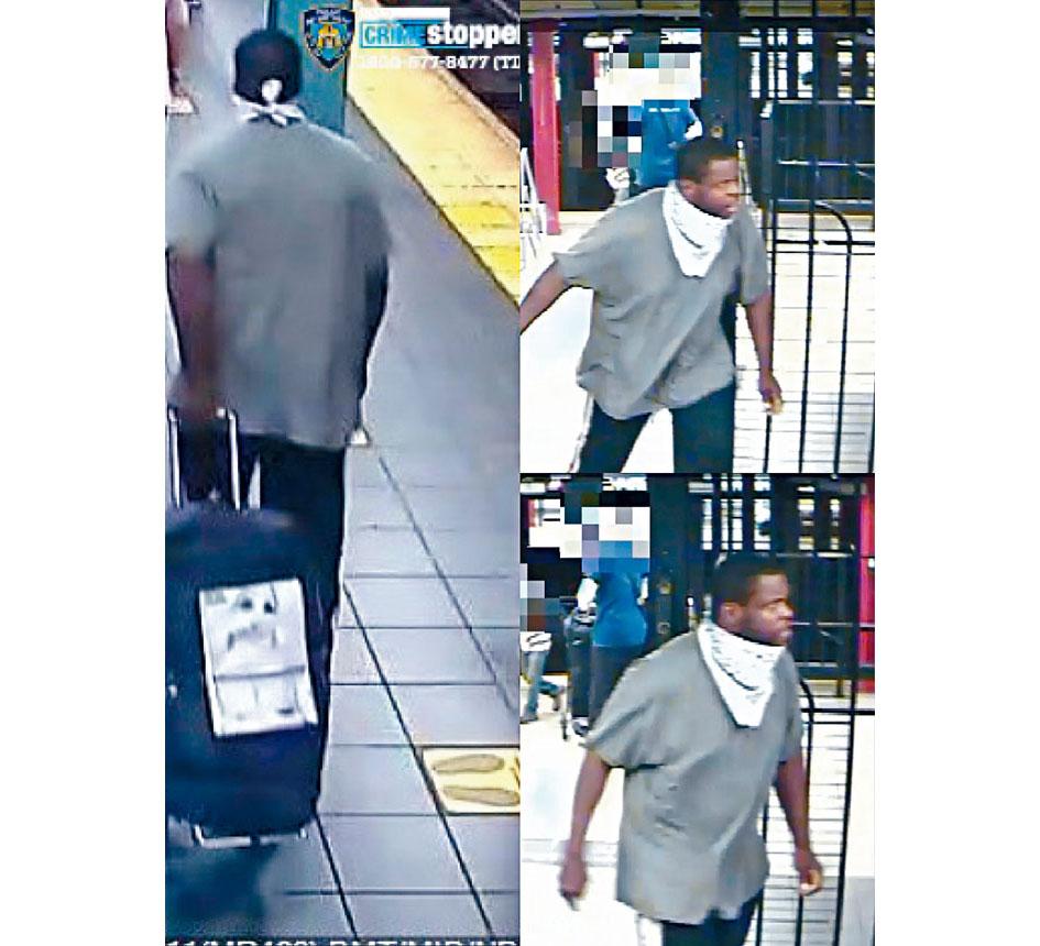 圖為警方正在尋找的非裔男子。 NYPD
